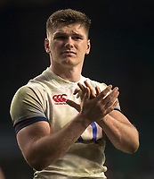 Englands' Owen Farrell applauds the crowd <br /> <br /> Photographer Bob Bradford/CameraSport<br /> <br /> NatWest Six Nations Championship - England v Wales - Saturday 10th February 2018 - Twickenham Stadium - London<br /> <br /> World Copyright &copy; 2018 CameraSport. All rights reserved. 43 Linden Ave. Countesthorpe. Leicester. England. LE8 5PG - Tel: +44 (0) 116 277 4147 - admin@camerasport.com - www.camerasport.com