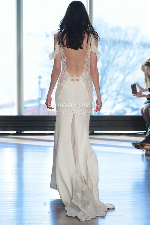 "Model Alexandra walks runway in a ""Twiggy"" bridal gown from the Rivini Spring Summer 2017 bridal collection by Rita Vinieris at The Standard Highline Room, during New York Bridal Fashion Week on April 15, 2016."