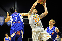 Grant Fiorentinos takes a rebound during the national basketball league match between Wellington Saints and Taylor Hawks at TSB Bank Arena in Wellington, New Zealand on Friday, 17 March 2017. Photo: Dave Lintott / lintottphoto.co.nz