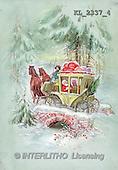 Interlitho, CHRISTMAS SANTA, SNOWMAN, nostalgic, paintings, santa, coach, bridge(KL2337/4,#X#) Weihnachten, nostalgisch, Navidad, nostálgico, illustrations, pinturas