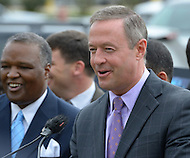 "September 19, 2011 (New Carrollton, MD)  Maryland Governor Martin O'Malley (right) and Lt. Governor Anthony G. Brown (not pictured), joined Prince George's County Executive Rushern Baker (left) in announcing the relocation of the Maryland Department of Housing and Community Development (DHCD) from its current location in Crownsville, Maryland, to a site in New Carrollton, Maryland.  The new site, called ""Metroview,"" will locate DHCD's headquarters in a new, retail, residential, and mixed-use facility. When completed, it will also be convenient to the Purple Line light rail, and is anticipated to generate a net public benefit (to both the State and County) of over $11 million over the course of the 15-year lease and create an estimated 300 jobs in its construction and an additional 80 retail jobs.  (Photo by Don Baxter/Media Images International)"