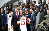 United States President Barack Obama poses with the BCS National Champion University of Alabama Crimson Tide football team at the White House celebrating their 15th national championship, April 15, 2013 in Washington, DC. .Credit: Olivier Douliery / Pool via CNP