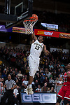Bryant Crawford (13) of the Wake Forest Demon Deacons skies for a slam dunk during first half action against the North Carolina State Wolfpack at the LJVM Coliseum on February 17, 2018 in Winston-Salem, North Carolina.  The Wolfpack defeated the Demon Deacons 90-84.  (Brian Westerholt/Sports On Film)