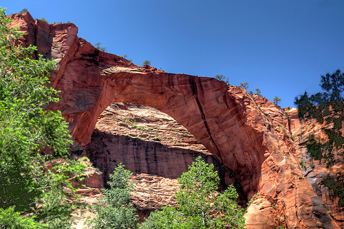 Kolob Arch,possible the largest natural arch in the world, stands in Zion National Park, Utah