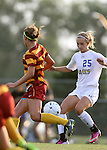 BROOKINGS, SD - AUGUST 23:  Alexa Trakalo #25 from South Dakota State University battles for the ball with Madi Ott #12 from Iowa State in the second half of their game Friday evening at Fischback Soccer Field in Brookings. (Photo by Dave Eggen/Inertia)