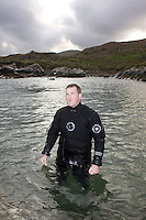 Saturday Oct 10 2009.  SCUBADIVE WEST, GALWAY, IRELAND:  Paul Devane waits for a boat to take him for the site of his world record attempt to become the first SCUBA diver to stay underwater for 24 hours.  Brothers Declan and  Paul Devane began their world record attempt to be the first divers to stay underwater on SCUBA for a period of 24-hours at 10 am this morning.