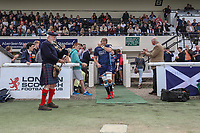 Mark Bright (Captain) of London Scottish leads out the London Scottish players during the Greene King IPA Championship match between London Scottish Football Club and Ealing Trailfinders at Richmond Athletic Ground, Richmond, United Kingdom on 8 September 2018. Photo by David Horn.