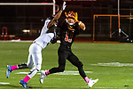 WATERTOWN, CT. 11 October 2019-101119BS392 - Ansonia's Darell McKnight #9, left, knocks the ball away from Watertown's Leo Kolonsky (11), during a NVL game of the unbeaten between Ansonia and Watertown at Watertown High School on Friday. Bill Shettle Republican-American