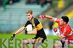 In Action Dr. Crokes Gavin O'Shea and Dingles Micheal Flannery  at the Dingle V Dr Crokes in the Senior Club Championship Semi Final at Austin Stack Park on Saturday