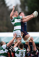 Harry Casson of Ealing Trailfinders and Ollie Stedman of Doncaster Knights compete for the ball at a lineout. Greene King IPA Championship match, between Ealing Trailfinders and Doncaster Knights on February 9, 2019 at the Trailfinders Sports Ground in London, England. Photo by: Patrick Khachfe / Onside Images