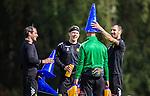Stockholm 2014-08-30 Fotboll Superettan Hammarby IF - Tr&auml;ning :  <br /> Johan Persson , Thomas Guldborg Christensen och Marko Mihajlovic skojar med Hammarbys sjukgymnast Mikael Klotz under Hammarbys tr&auml;ning p&aring; &Aring;rsta IP l&ouml;rdag den 30 augusti<br /> (Foto: Kenta J&ouml;nsson) Nyckelord:  Tr&auml;ning Tr&auml;na &Aring;rsta IP Hammarby Bajen glad gl&auml;dje lycka leende ler le