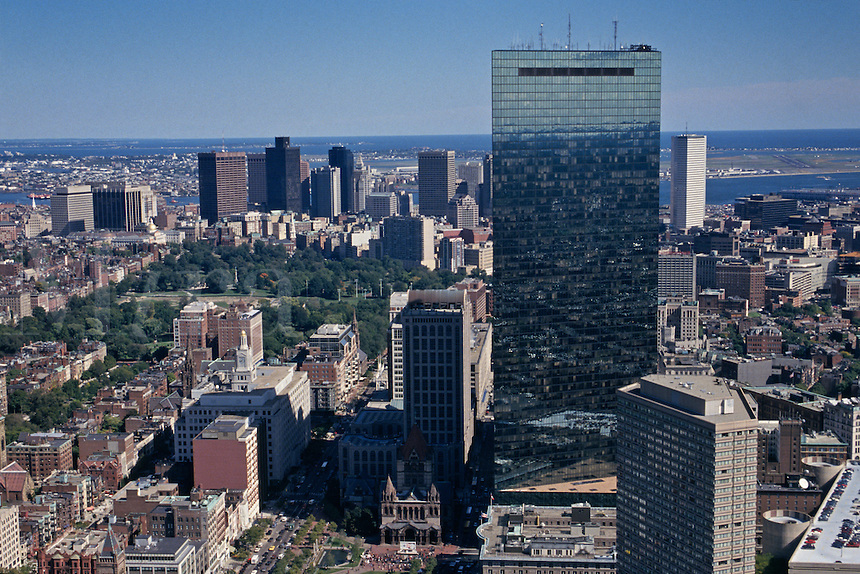Massachusetts, Boston; Hancock Building And Downtown Boston Skyline; View From Observation Deck Of Prudential Towe