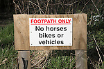 Sign 'Footpath Only No horses bikes or vehicles', Suffolk, England