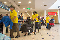 Welcome home - Sydney airport / Nick Dean and Chris McKnight<br /> PyeongChang 2018 Paralympic Games<br /> Australian Paralympic Committee<br /> Sydney International Airport<br /> PyeongChang South Korea<br /> Tuesday March 20th 2018<br /> © Sport the library / Jeff Crow