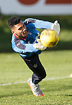 Wes Foderingham makes a save at training