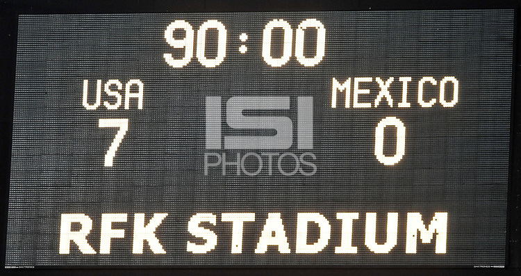 Final score of the game. The USWNT defeated Mexico 7-0 during an international friendly, at RFK Stadium, Tuesday September 3 , 2013.