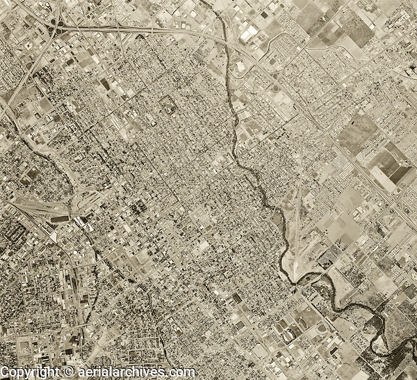 historical aerial photograph San Jose, California, 1968