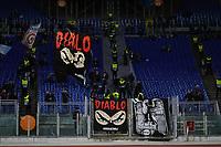 Lazio fans with Diablo's flag and banner <br /> Roma 28-11-2019 Stadio Olimpico <br /> Football Europa League 2019/2020 <br /> SS Lazio - CFR Cluji <br /> Photo Andrea Staccioli / Insidefoto
