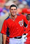 10 March 2012: Washington Nationals' catcher Adrian Nieto smiles in the dugout during a game against the New York Mets at Space Coast Stadium in Viera, Florida. The Nationals defeated the Mets 8-2 in Grapefruit League play. Mandatory Credit: Ed Wolfstein Photo