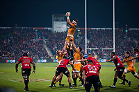 Jaguares' Marcos Kremer takes lineout ball during the 2019 Super Rugby final between the Crusaders and Jaguares at Orangetheory Stadium in Christchurch, New Zealand on Saturday, 6 July 2019. Photo: Dave Lintott / lintottphoto.co.nz