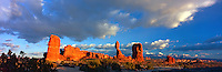 Balanced Rock and La Sal Mountains at Sunset, Arches National Park, Utah