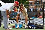 WINSTON SALEM, NC - MAY 22: Head Coach Ty Tucker of the Ohio State Buckeyes consoles Tim Seibert after his loss against the Wake Forest Demon Deacons during the Division I Men's Tennis Championship held at the Wake Forest Tennis Center on the Wake Forest University campus on May 22, 2018 in Winston Salem, North Carolina. Wake Forest defeated Ohio State 4-2 for the national title. (Photo by Jamie Schwaberow/NCAA Photos via Getty Images)