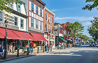 Bar Harbor Maine Main Street traffic and shops with tourists and fall color