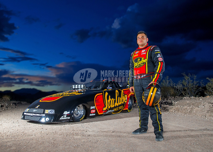 Aug 26, 2015; Lake Pleasant, AZ, USA; NHRA top alcohol funny car driver Stefan Kontos during a portrait shoot near Lake Pleasant. Mandatory Credit: Mark J. Rebilas-