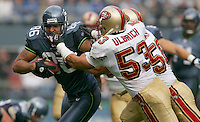 Seahawks TE Jeremy Stevens(86) breaks away LB Jeff Ulbrich(53) and LB Derek Smith(50) first half of the game. Alexander scored three touchdowns in the game at Qwest Field in Seattle on September 26, 2004.