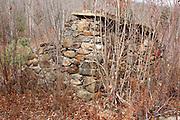 Remnants of an old foundation along the Beebe River Road in Campton, New Hampshire USA. This area was part of the Beebe River logging Railroad, which operated from 1917-1942.