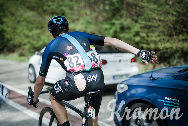 David de la Cruz (ESP/SKY) returning to the pack after a crash<br /> <br /> 83rd La Flèche Wallonne 2019 (1.UWT)<br /> One day race from Ans to Mur de Huy (BEL/195km)<br /> <br /> ©kramon