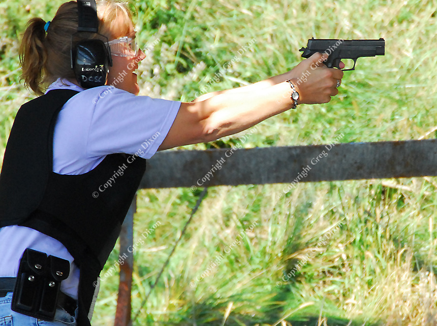 Sheriff's deputy Dawn West practices at the Dane County Law Enforcement Training Center