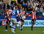 Leon Clarke of Sheffield Utd has a shot on goal during the Championship match at the Hillsborough Stadium, Sheffield. Picture date 24th September 2017. Picture credit should read: Simon Bellis/Sportimage
