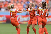 Houston, TX - Saturday April 15, 2017: Kealia Ohai celebrates with Rachel Daly after scoring a goal during a regular season National Women's Soccer League (NWSL) match won by the Houston Dash 2-0 over the Chicago Red Stars at BBVA Compass Stadium.
