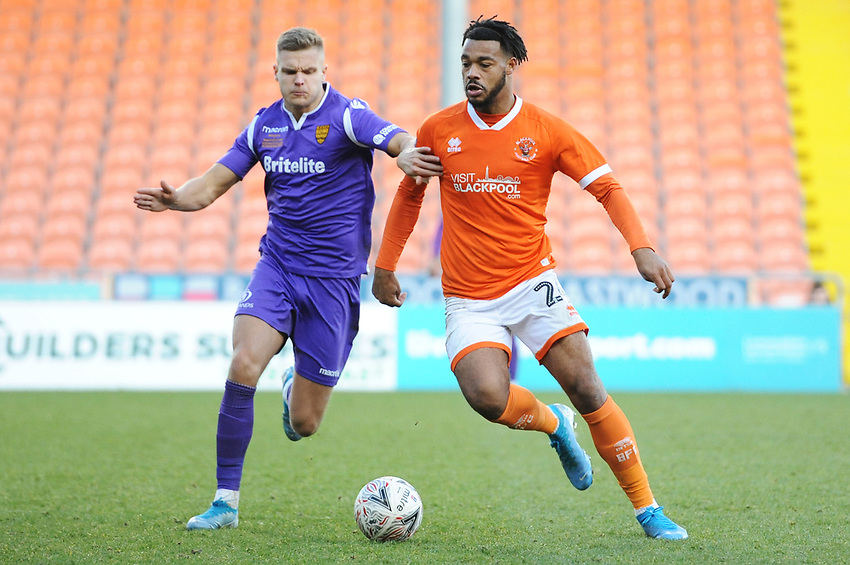 Blackpool's Joe Nuttall under pressure from Maidstone United's Ross Marshall<br /> <br /> Photographer Kevin Barnes/CameraSport<br /> <br /> Emirates FA Cup Second Round - Blackpool v Maidstone United - Sunday 1st December 2019 - Bloomfield Road - Blackpool<br />  <br /> World Copyright © 2019 CameraSport. All rights reserved. 43 Linden Ave. Countesthorpe. Leicester. England. LE8 5PG - Tel: +44 (0) 116 277 4147 - admin@camerasport.com - www.camerasport.com