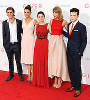 NEW YORK CITY, NY, USA - AUGUST 11: Brenton Thwaites, Katie Holmes, Odeya Rushand, Taylor Swift and Cameron Monaghan arrive at the New York Premiere Of The Weinstein Company's 'The Giver' held at the Ziegfeld Theatre on August 11, 2014 in New York City, New York, United States. (Photo by Celebrity Monitor)