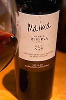 Bottle of Malma Reserva Malbec NQN Bodega NQN Winery, Vinedos de la Patagonia, Neuquen, Patagonia, Argentina, South America