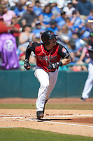 Matt Whatley (19) of the Hickory Crawdads hustles down the first base line against the Charleston RiverDogs at L.P. Frans Stadium on May 13, 2019 in Hickory, North Carolina. The Crawdads defeated the RiverDogs 7-5. (Brian Westerholt/Four Seam Images)