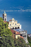 Locarno, Ticino, Switzerland, August 2009. The Madonna del Sasso Church overlooks the Lake Lago Maggiore. Ticino is the subtropical canton of switzerland where Italian is the first language. Photo by Frits Meyst/Adventure4ever.com