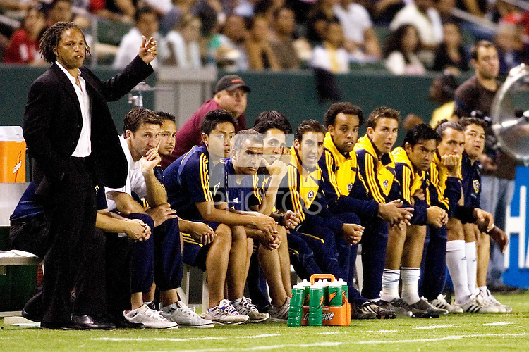 LA Galaxy head coach Cobi Jones and Galaxy bench during the Super Clasico MLS match. The LA Galaxy and Chivas USA played to a 2-2 draw at Home Depot Center stadium in Carson, California on Thursday, August 14, 2008.