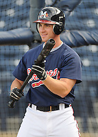 10 April 2008: Outfielder Carl Loadenthal (4) of the Mississippi Braves, Class AA affiliate of the Atlanta Braves, in a game against the Mobile BayBears at Trustmark Park in Pearl, Miss. Photo by:  Tom Priddy/Four Seam Images