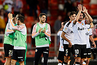1st February 2020; Mestalla, Valencia, Spain; La Liga Football,Valencia versus Celta Vigo; Valencia players gapplaud their fans after wining the game 1-0