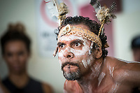 Margaret River, Western Australia    (Tuesday, April 10, 2018) Aboriginal  Welcoming Ceremony- The Margaret River Pro, Stop No. 3 on the World Surf League (WSL) Championship Tour (CT) is only one day away.<br /> Surfers, politicians and dignitaries attended a press session this morning at the contest site to kick off this year's event. Current ratings leaders Italo Ferreira (BRA) and Stephanie Gilmore (AUS), current World Champion John John Florence (HAW) and WA Minister for Tourism Paul Papalia were in attendance. Photo: joliphotos.com