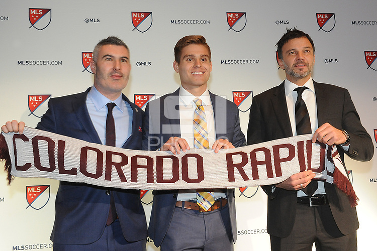 Philadelphia, PA - Thursday January 19, 2018: Padraig Smith, Alan Winn, Anthony Hudson during the 2018 MLS SuperDraft at the Pennsylvania Convention Center.