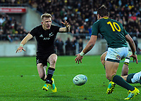 Damien McKenzie knocks the ball on after the final hooter during the Rugby Championship match between the New Zealand All Blacks and South Africa Springboks at Westpac Stadium in Wellington, New Zealand on Saturday, 15 September 2018. Photo: Dave Lintott / lintottphoto.co.nz