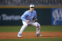 Kyle Datres (3) of the North Carolina Tar Heels on defense against the Charlotte 49ers at BB&T BallPark on March 27, 2018 in Charlotte, North Carolina. The Tar Heels defeated the 49ers 14-2. (Brian Westerholt/Four Seam Images)
