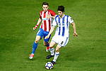 Atletico de Madrid's Saul Niguez (l) and Real Sociedad's Esteban Granero during La Liga match. April 4,2017. (ALTERPHOTOS/Acero)