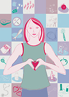 Woman with healthy heart through healthy diet and lifestyle