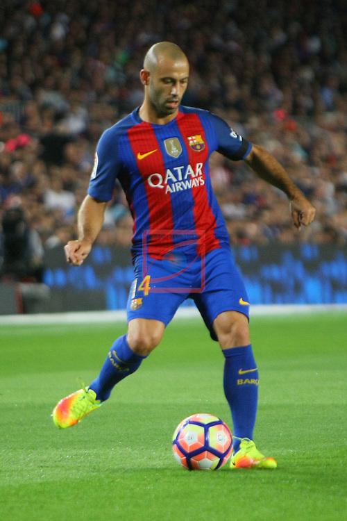 League Santander 2016/2017. Game: 5.<br /> FC Barcelona vs Atletico de Madrid: 1-1.<br /> Javier Mascherano.