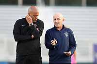 Cary, North Carolina  - Saturday September 09, 2017: Paul Riley and Sean Nahas prior to a regular season National Women's Soccer League (NWSL) match between the North Carolina Courage and the Houston Dash at Sahlen's Stadium at WakeMed Soccer Park. The Courage won the game 1-0.